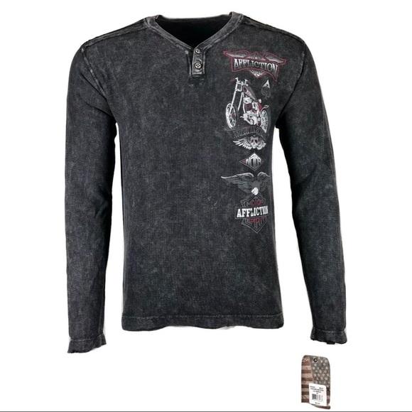 Affliction Mens Long Sleeve Thermal Shirt Blue Live Fast Skulls UFC New Size L